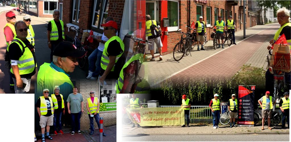 hier sind vier Fotos zusammengefügt auf denen Menschen mit Warnwesten und Fahrrädern zu sehen sind sowie ein Transparent mit der Aufschrift: wer Rentner quält wird nicht gewählt